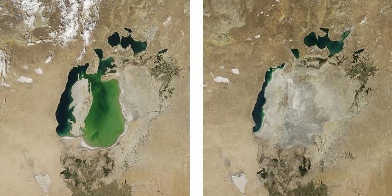 Satellietfoto's van NASA laten zien hoe snel het Aralmeer aan het opdrogen is